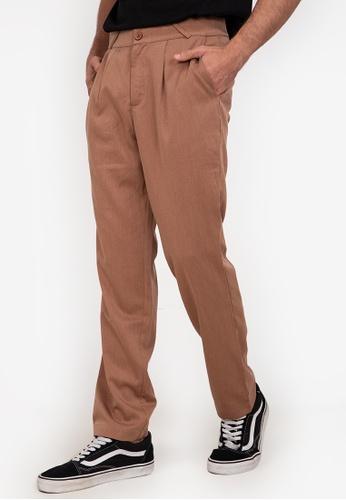 ZALORA BASICS brown Straight Leg Tailored Trousers 5AECAAA0D2AC67GS_1
