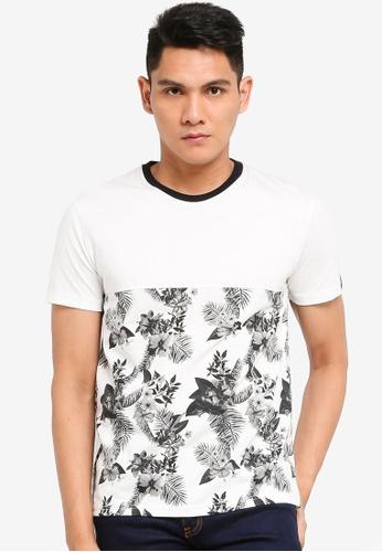 UniqTee white Colourblock T-shirt with Floral Print 69EF7AA6B7CB64GS_1