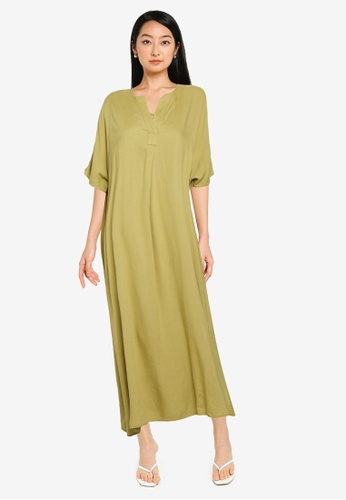 GLOBAL WORK green Kaftan Dress E641BAA0A63EC8GS_1
