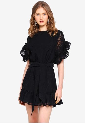 e836623f1cb INDIKAH black Short Sleeve Ruffle Lace Skater Dress 09DA0AA03B644EGS 1