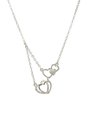 Jaysa Collection silver Petite Hearts Pendant Necklace With Crystals JA875AC0GQ9ZSG_1