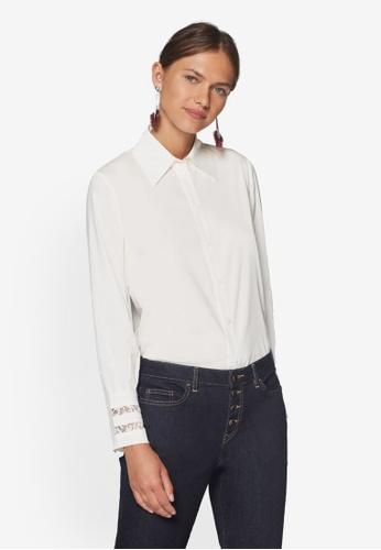 ESPRIT white Woven Long Sleeve Shirt 4E6A0AA4A2A062GS_1