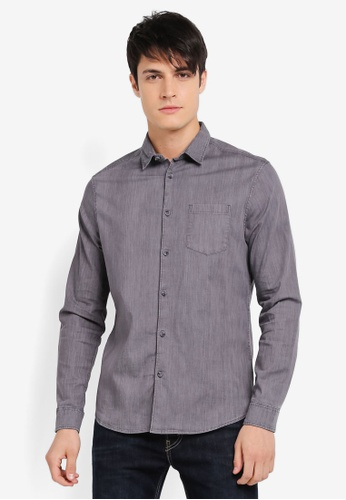 Burton Menswear London grey Long Sleeve Stretch Denim Shirt BU964AA0SR8CMY_1