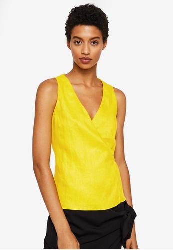 Mango yellow Wrap Linen Top B0538AAAEB5DE9GS_1