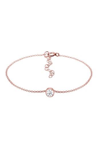 Elli Germany gold Perhiasan Wanita Perak Asli - Silver Gelang Solitaire Swarovski® Crystal Lapis Rosegold D2A5CAC804F9B9GS_1