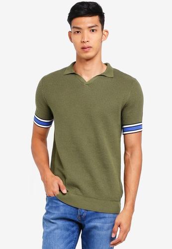 Topman green Khaki Revere Polo Jumper 59873AA5AC2660GS_1