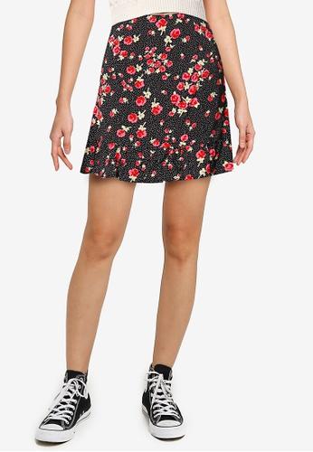 Miss Selfridge black Rose Floral Mini Skirt E2F8AAA814BE44GS_1