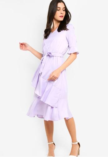 ZALORA purple V-Neck Ruffles Hem Dress 66A5EAA2A8A995GS_1