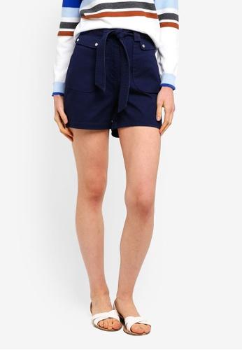 ESPRIT navy Woven Waist Tie Shorts 6BE00AABFA3833GS_1