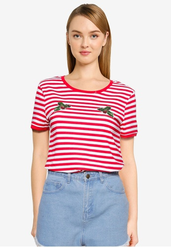 Brave Soul 紅色 Printed Stripe Ringer T-Shirt D37B5AA3D0BC09GS_1