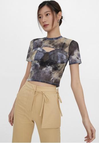Pomelo black Cut Out Tie Dye Top - Black 0FDE8AA03D7CEFGS_1