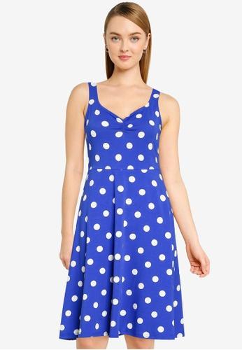 Dorothy Perkins blue Spot Print Ruched Front Sleeveless Jersey Dress CF557AA94B7C15GS_1