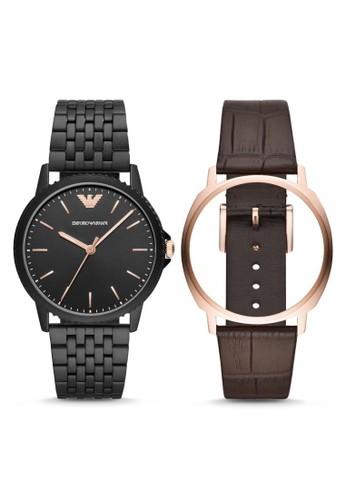 Emporio Armani black Emporio Armani Kappa - Black Dial 41 mm - Leather -  Black and 47d57266ea