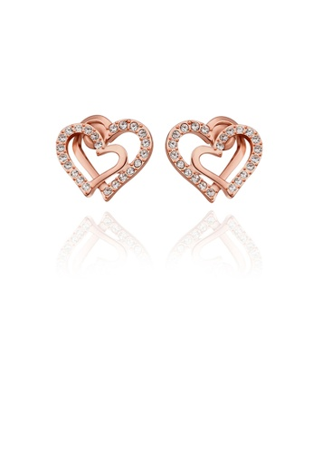 Glamorousky white Simple Plated Rose Gold Double Heart Stud Earrings with Austrian Element Crystal D3AA6AC495EC54GS_1