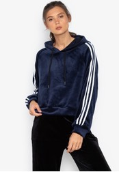 Chase Fashion blue Crop Suede Sport Hoodie With Stripe Lining 5D3A1AAA1C7367GS_1