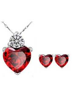 Red glass heart jewelry sets for Women by Zumqa