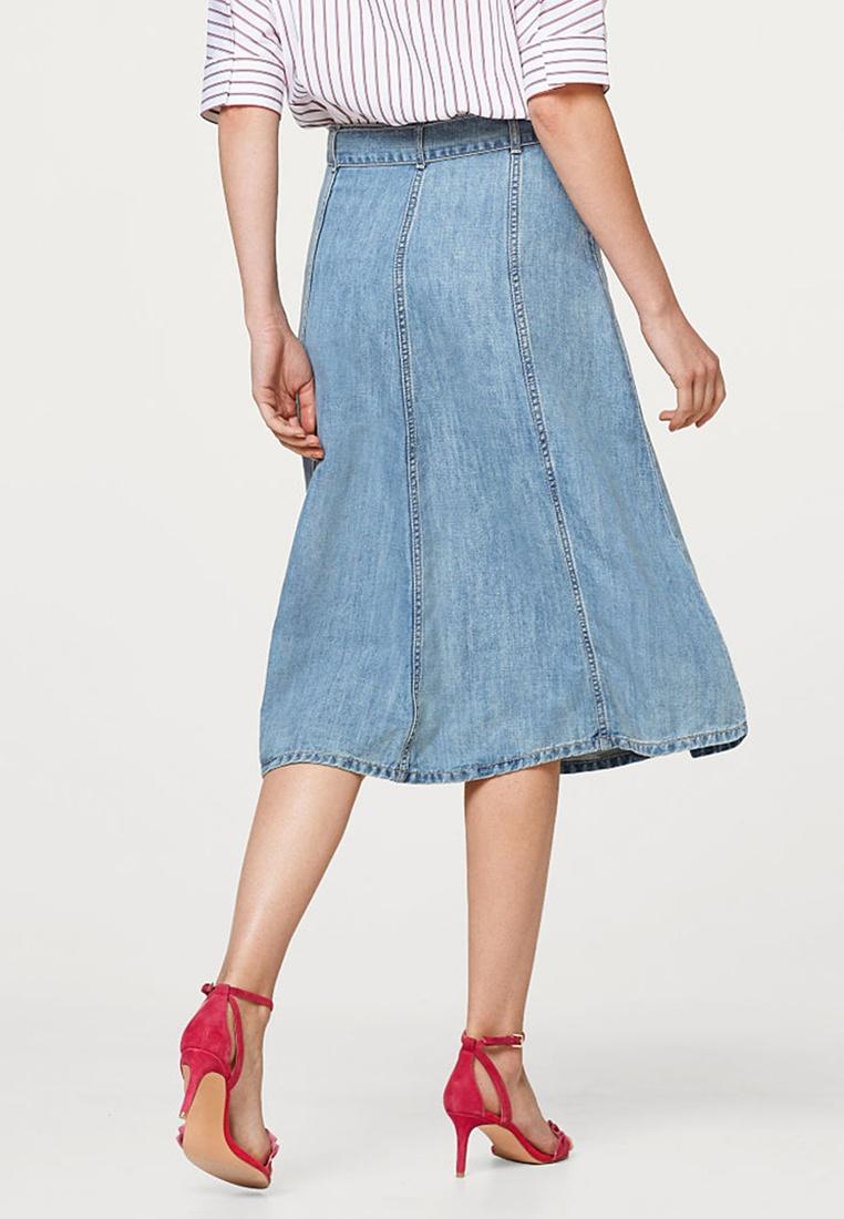 ESPRIT Skirt Denim Wash Midi Blue Medium vxrvqSFwH