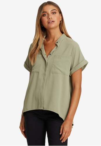 Willa green Colbie Button Front Top 562F0AA0A088CFGS_1