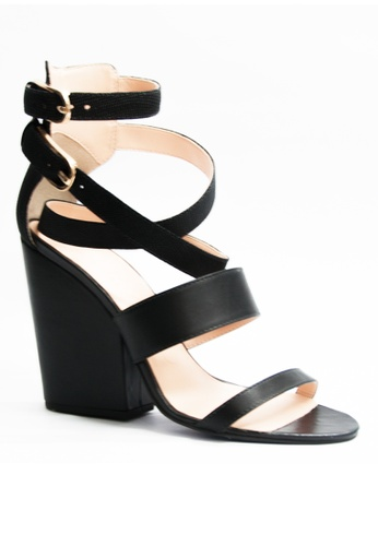 Covet black Miezko Clara Vitello Lizard Strappy Heeled Sandals CO331SH45EMKPH_1