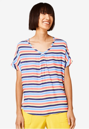 ESPRIT blue and multi Colourful Striped Pattern Blouse D3B23AA637C93EGS_1
