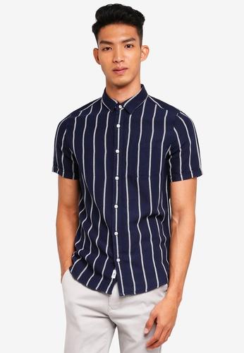 Burton Menswear London 海軍藍色 短袖條紋亞麻襯衫 91C98AA3C1B695GS_1