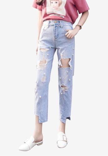 Lara blue Women Beaded Jeans 5A90FAA7439873GS_1