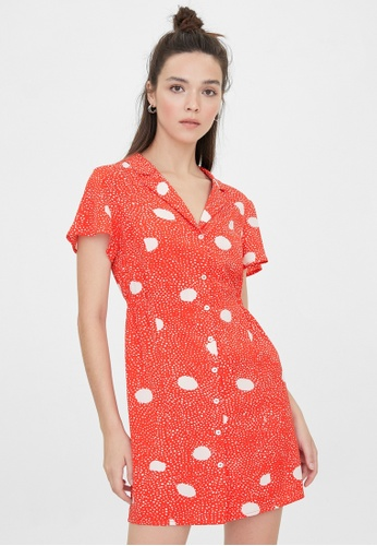 Pomelo red Mini Button Up Polka Dot Dress - Red ECC23AA0F29095GS_1