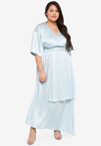 ELVI blue Plus Size Fonic Maxi Dress With Double Contrast Ties 8A21DAA9E18E5BGS_1