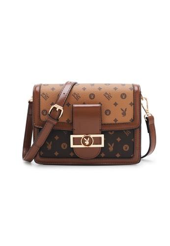 PLAYBOY BUNNY brown Women's Sling Bag / Shoulder Bag / Crossbody Bag 77261ACA14B96DGS_1