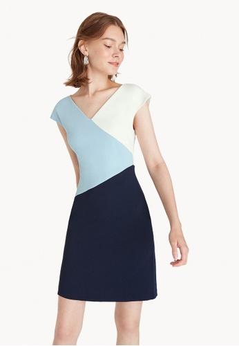 Pomelo blue Mini V Neck Cap Sleeve Dress - Blue 0F2B1AAB083540GS_1