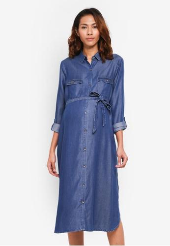 JoJo Maman Bébé blue Maternity Shirt Dress 18C90AA93F8A8EGS_1