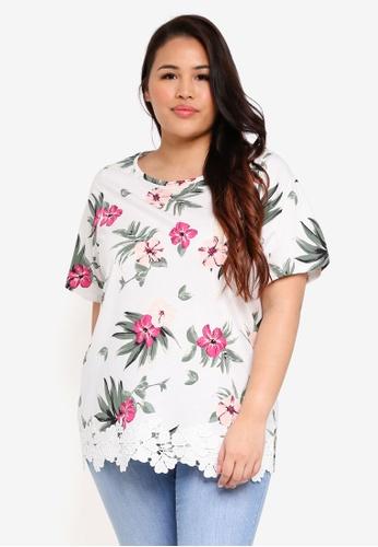 Dorothy Perkins white Plus Size Floral Lace Hem T-Shirt 47E37AA706CEFDGS_1