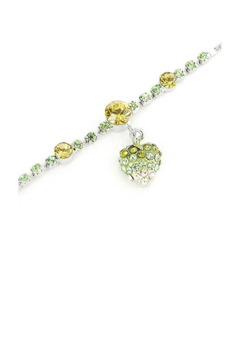 Glamorousky yellow Fancy Bracelet with Strawberry Charm in Green and Yellow Austrian Element Crystals CEF15AC48C7D55GS_1