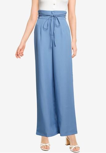 MISSGUIDED blue Deep Waist Band Wide Leg Trousers C9F48AA8AD39FCGS_1