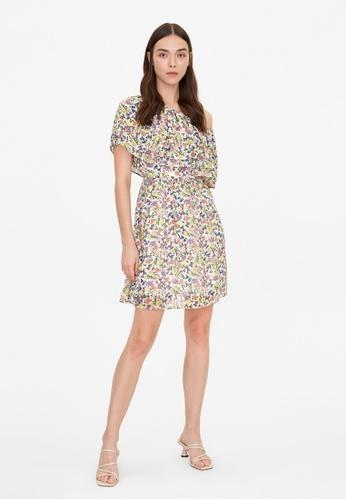 Pomelo white Asymmetric Off Shoulder Floral Dress - White 5BDBDAA1C07770GS_1