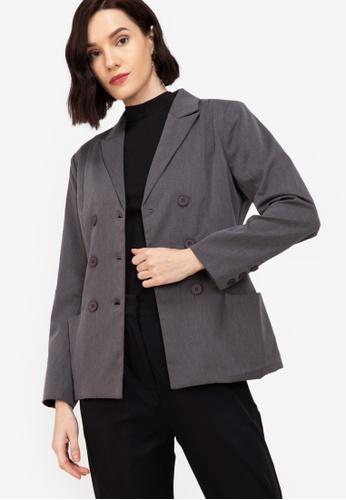 ZALORA WORK grey Double Breasted Bar Jacket 840CFAAA8EF7AAGS_1