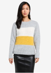 Dorothy Perkins grey and multi Yellow Colour Block Jumper DO816AA0S7BGMY_1
