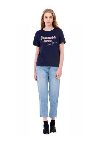 G-CUT navy [G_Cut X Jihi] K-Pop Star Wearing Navy Lettering Basic T-Shirt DECAEAA93DFC9EGS_1