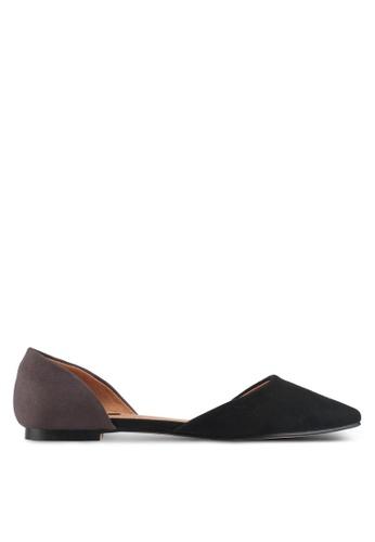 ZALORA 黑色 雙色氣質平底鞋 D2B28SH46E2DCDGS_1