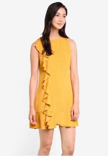 ZALORA yellow Ruffle Front Dress 13FC4AA4DDA342GS_1