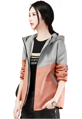 A-IN GIRLS grey and orange Fashion Colorblock Plus Velvet Hooded Jacket 0438CAA3080B8FGS_1