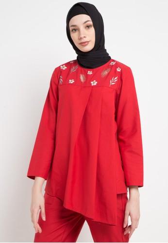 OMARA red and multi Tiara Blouse D2F9AAA61BA2FBGS_1