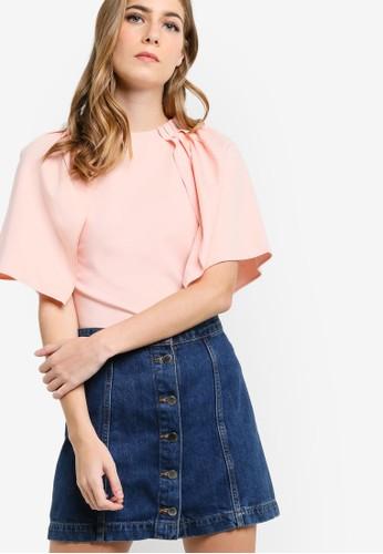褶藝荷葉短袖上zalora 包包評價衣, 服飾, 服飾