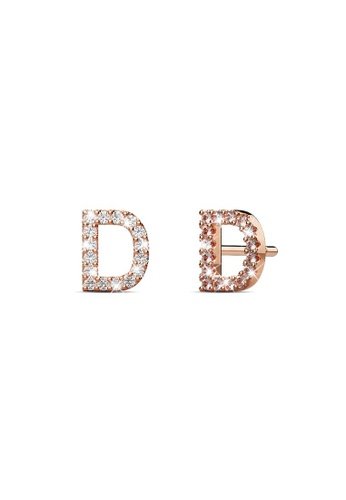 925 Signature silver 925 SIGNATURE Solid 925 Sterling Silver Glamour Alphabet Letter Earrings Rose Gold - D 659CBAC052B3D3GS_1