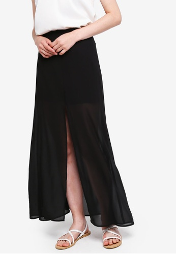 Something Borrowed black Front Slit Maxi Skirt A5C62AA351706CGS_1
