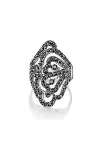 ADORA silver Black Crystal Ring 37CAEAC5E31907GS_1