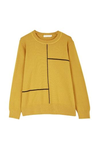 Its Me yellow Casual Stitching Crew Neck Sweater B41C7AA2CD0E5DGS_1