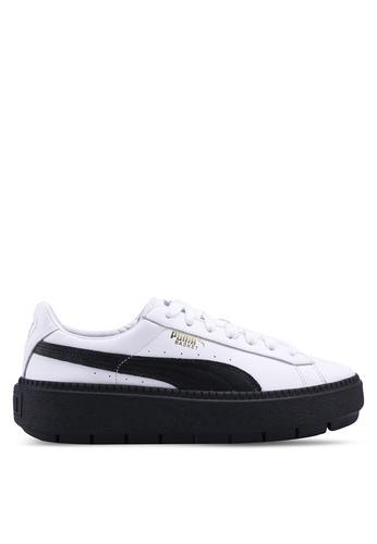 Puma white Basket Platform Trace Shoes PU549SH0SWFJMY_1