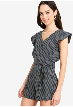 8688095f197 Something Borrowed green Buttoned Down Romper With Sash 09654AABA7E99DGS 1