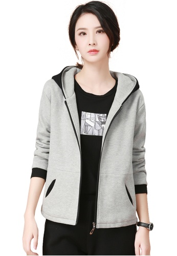 A-IN GIRLS black and grey Simple Colorblock Hooded Plus Velvet Sweater Coat  7032BAA8A057ABGS 1 4bee717b885